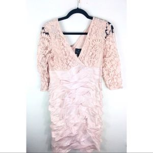 Adrianna papell blush pink lace dress tiered 8